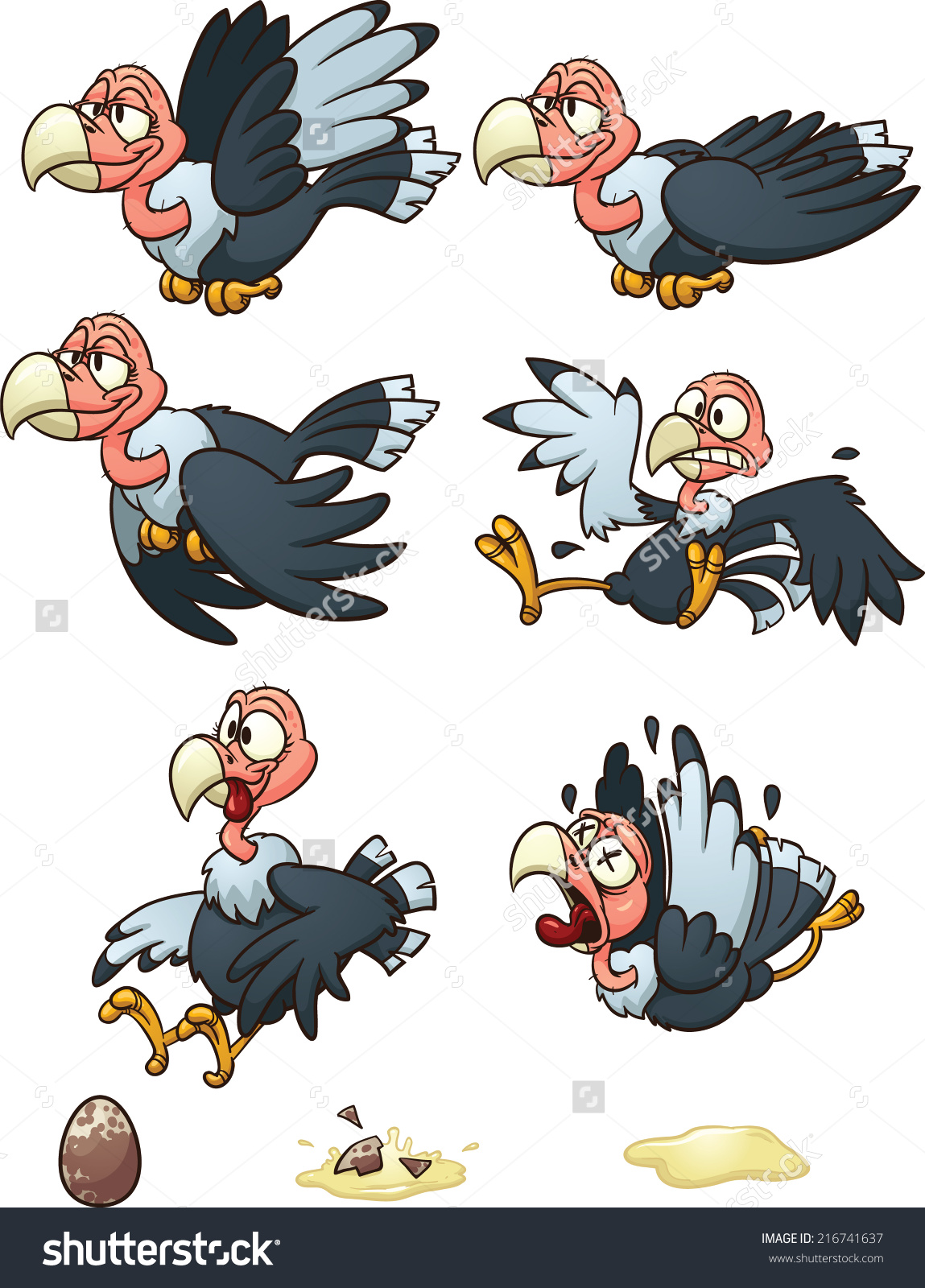 Vultures Sprites Flight Cycle Laying Egg Stock Vector 216741637.