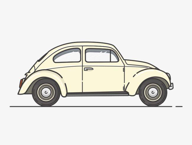 Creative Cartoon Classic Car Side View, Cartoon Clipart, Car.
