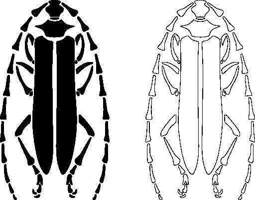 Longhorn Beetle Stencil Pattern Clipart.