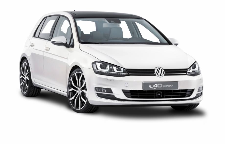 White Volkswagen Golf Car.