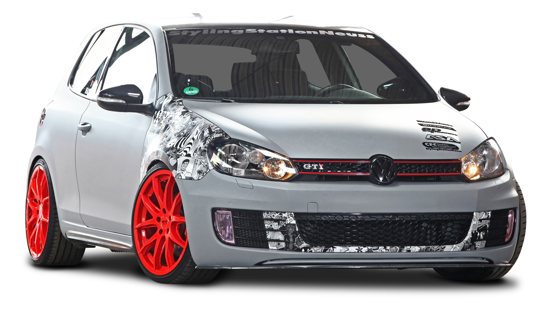 Volkswagen Golf VI GTI Car PNG Image.