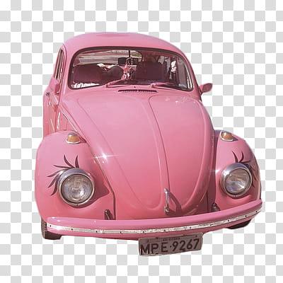 PINK PASTEL , pink Volkswagen Beetle transparent background.