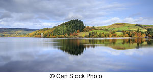 Stock Photographs of Lake Vyrnwy reservoir and straining tower.