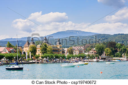 Picture of Resort Velden am Worthersee See and Lake Worth. Austria.
