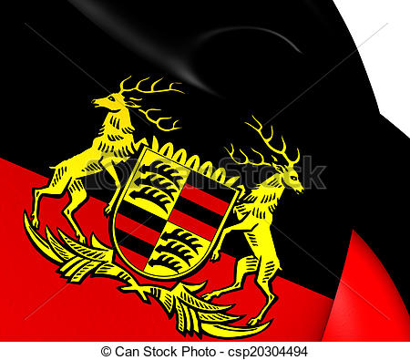 Stock Illustration of Free People's State of Wurttemberg Flag.