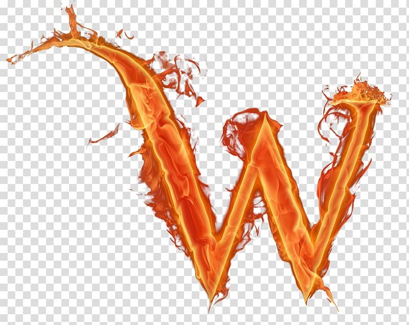 Flaming W illustration, Letter Alphabet W Fire, fire.