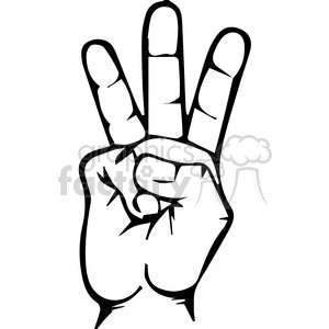sign language letter W clipart. Royalty.