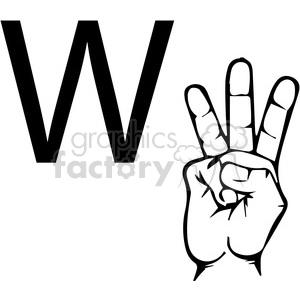 ASL sign language W clipart illustration worksheet . Royalty.