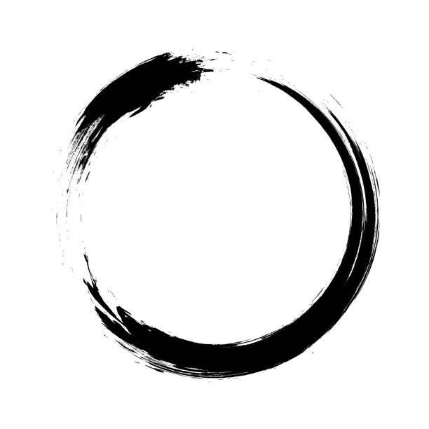 Ensō character in black and white, a circular brushstroke.
