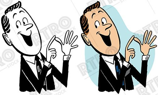 A cartoon of a businessman counting on his fingers vintage.