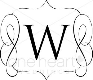 Classic Monogram W Clipart.