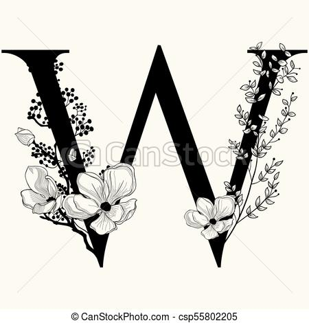 Vector Hand Drawn floral uppercase W monogram and logo.