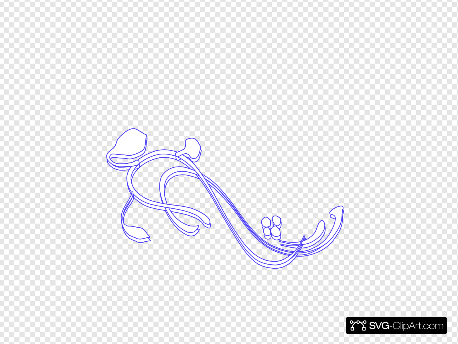 White Flourish W Blue Outline Clip art, Icon and SVG.