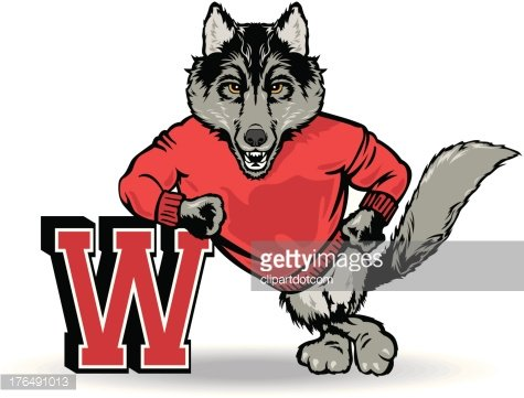Wolf With The Letter W Clipart Image.
