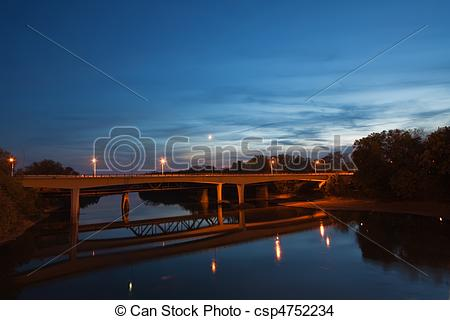 Stock Photo of Bridge over the Wabash River in Indiana.