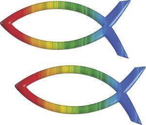 Wachsbild Fisch regenbogen 40x18mm Kerze gestalten Verzierwachs.