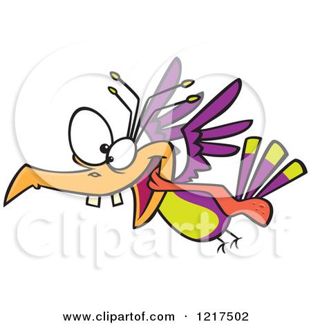 Clipart of a Cartoon Crazy Bird Flying.