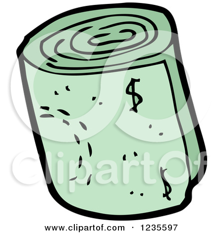 Clipart of a Rolled Wad of Cash.
