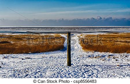 Stock Photos of Wadden sea from the island Mando, Denmark with the.