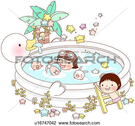 Clip Art of Girl swimming in wadding pool while boy holding ladder.