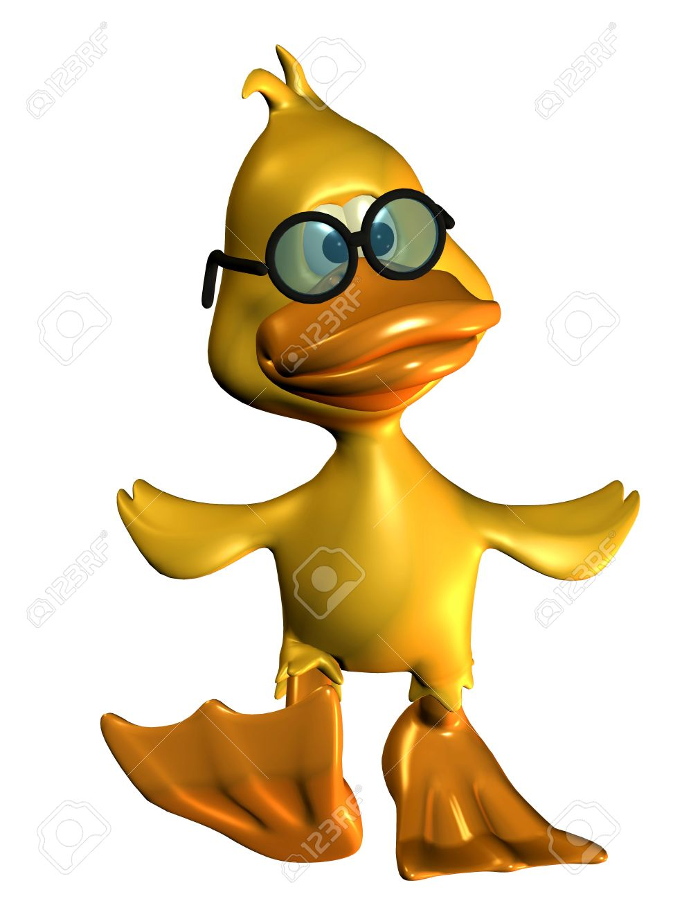 3D Rendering Of A Duck Waddling In Comic Style Stock Photo.