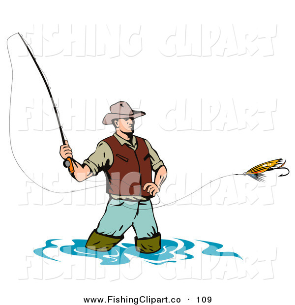 Clip Art of a Sporty Wading Fly Fishing Man Casting His Line by.