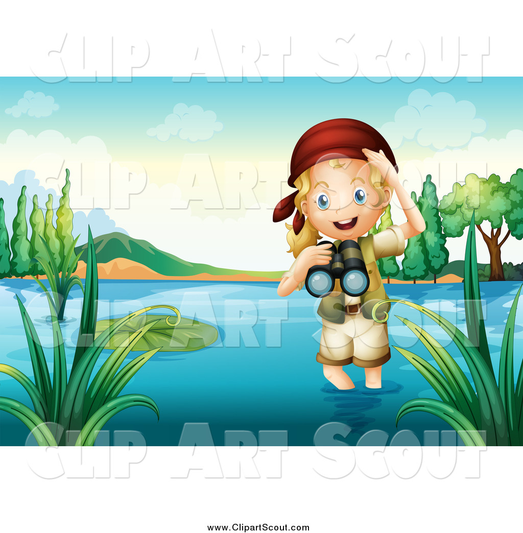 Clipart of a Blond Explorer Girl Wading in Water and Holding.
