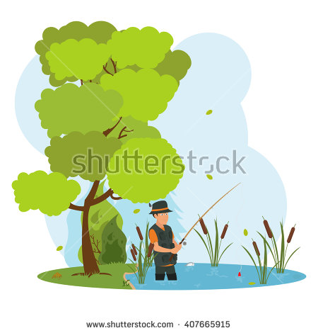 Fisherman in waders silhouette clipart.