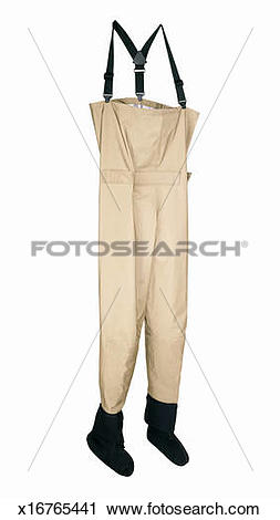 Stock Photography of Waterproof empty set of chest waders for.