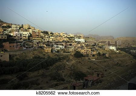 Stock Photo of Wadi Mussa village in Jordan k8205562.