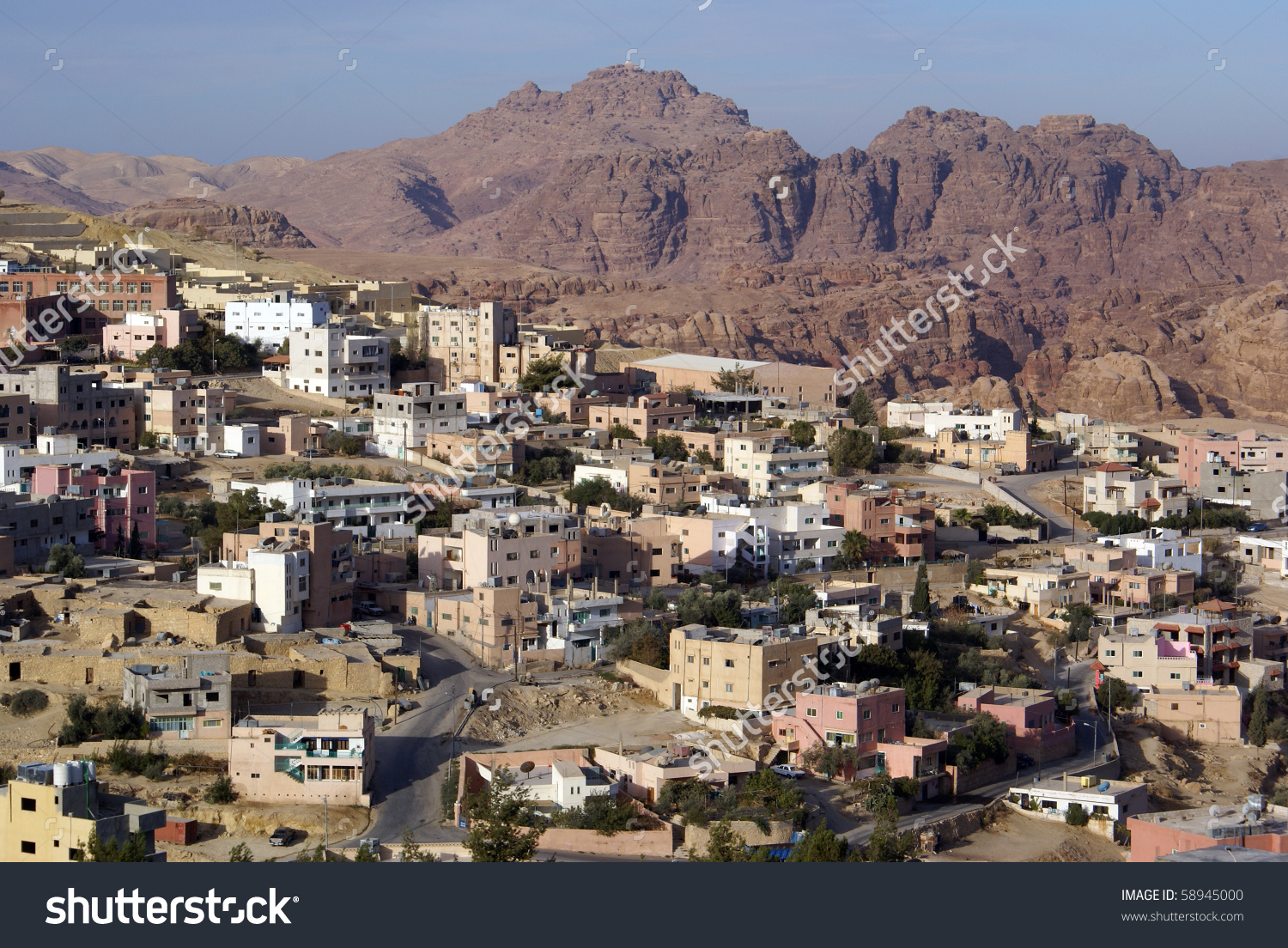 Town Wadi Musa Near Ruins Petra Stock Photo 58945000.