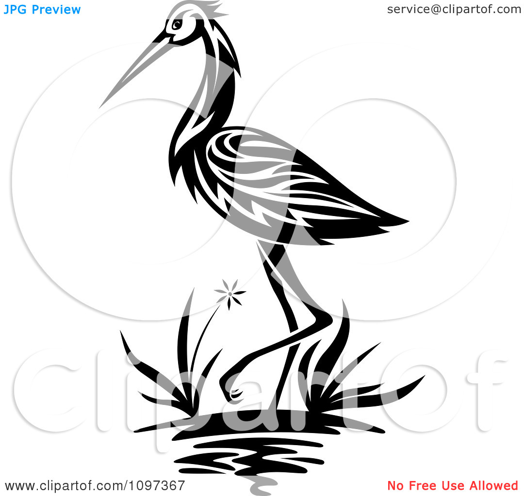 Clipart Black And White Crane Wading In A Marsh.