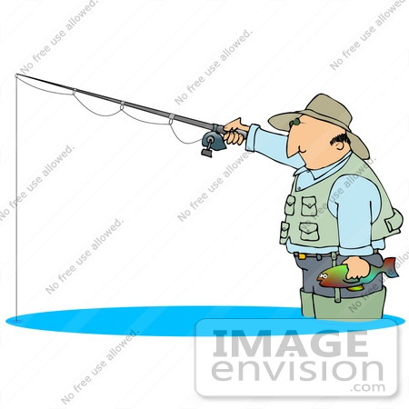 Clip Art Graphic of a Man Wading in Water and Holding a Fish and.