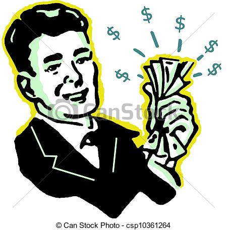 Stock Illustration of A graphical illustration of a man with wads.
