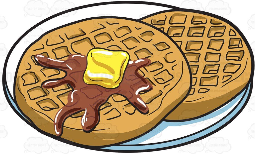 Waffles for breakfast #cartoon #clipart #vector #vectortoons.