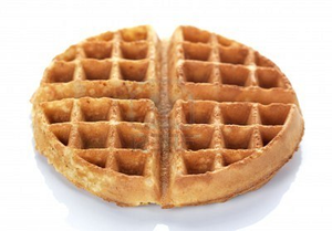 Round Waffle On A White Background.