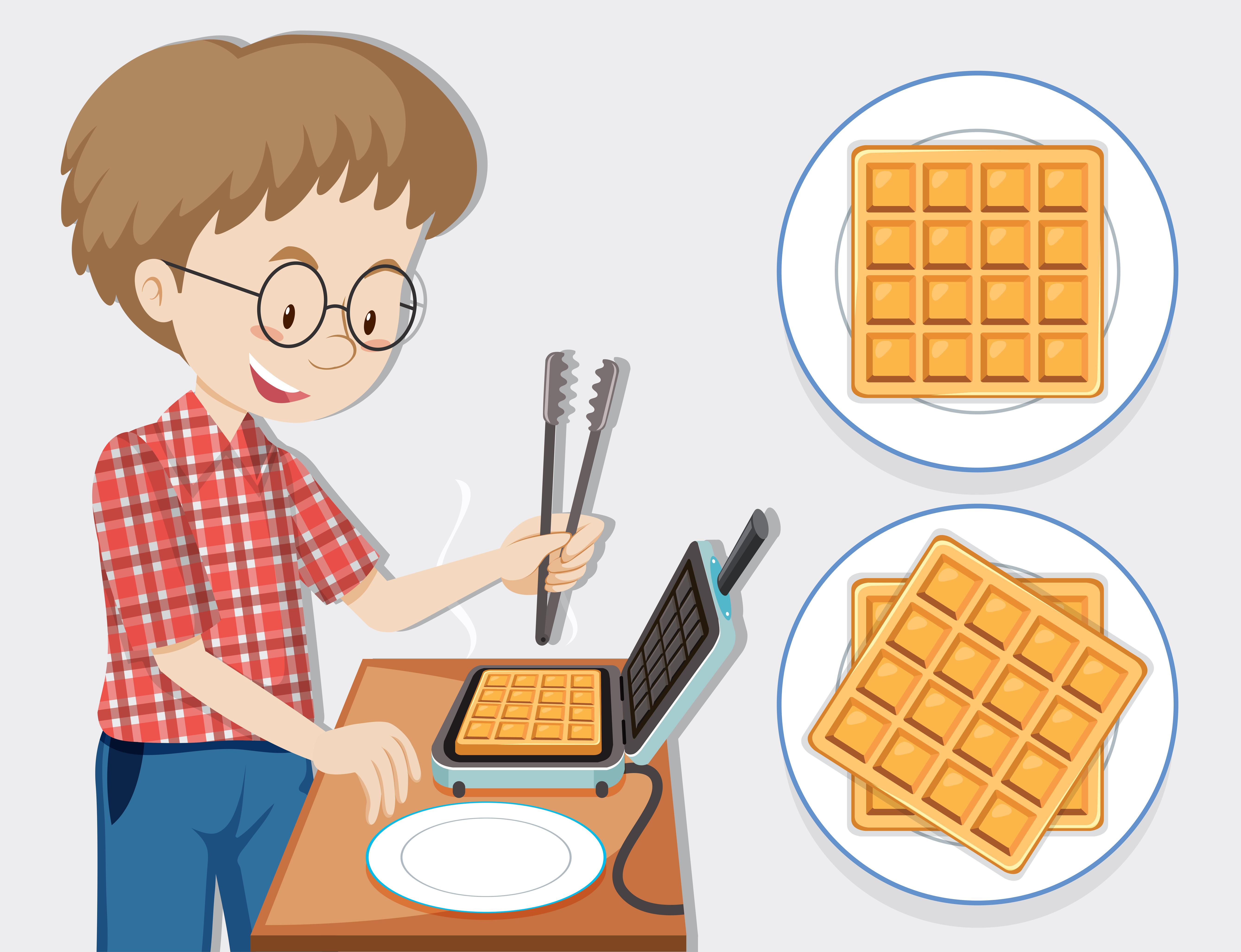 Waffle Character Free Vector Art.