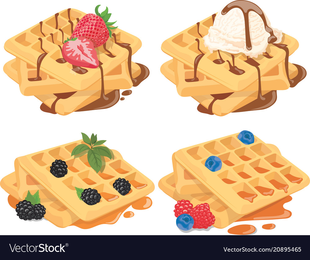 Collection of belgian waffles with fruit fillings.
