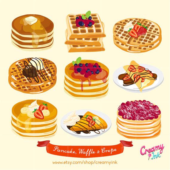Waffle & Pancake Digital Vector Clip art/ Crepes Cakes.
