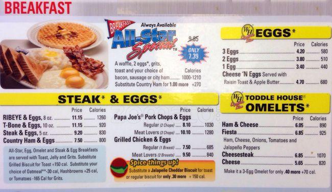 Waffle House Menu, Menu for Waffle House, Yorkmount, Charlotte.
