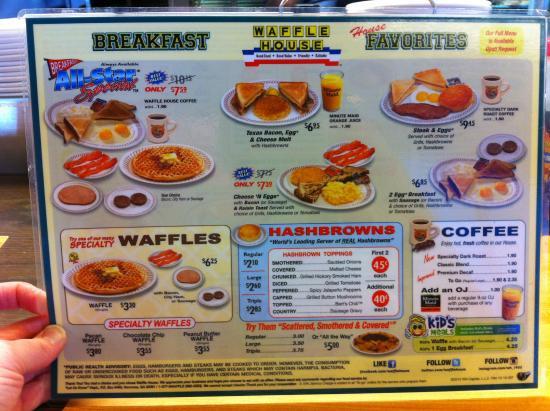 Waffle House Menu..