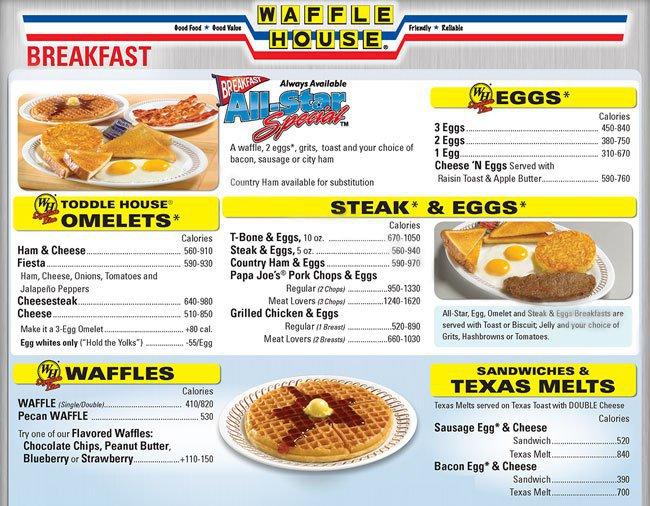 Waffle House Menu, Menu for Waffle House, Burleson, Burleson.