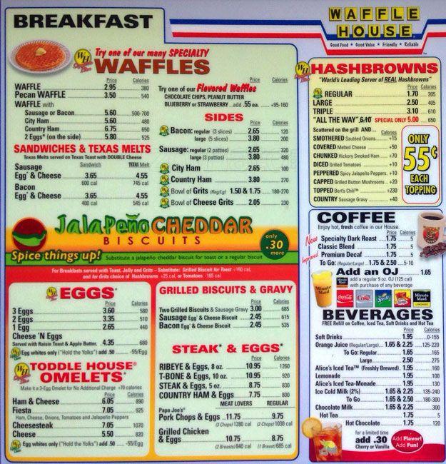 Waffle House Menu, Menu for Waffle House, Del Valle, Austin.