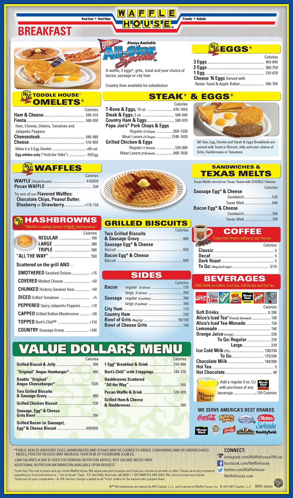Waffle House Menu.