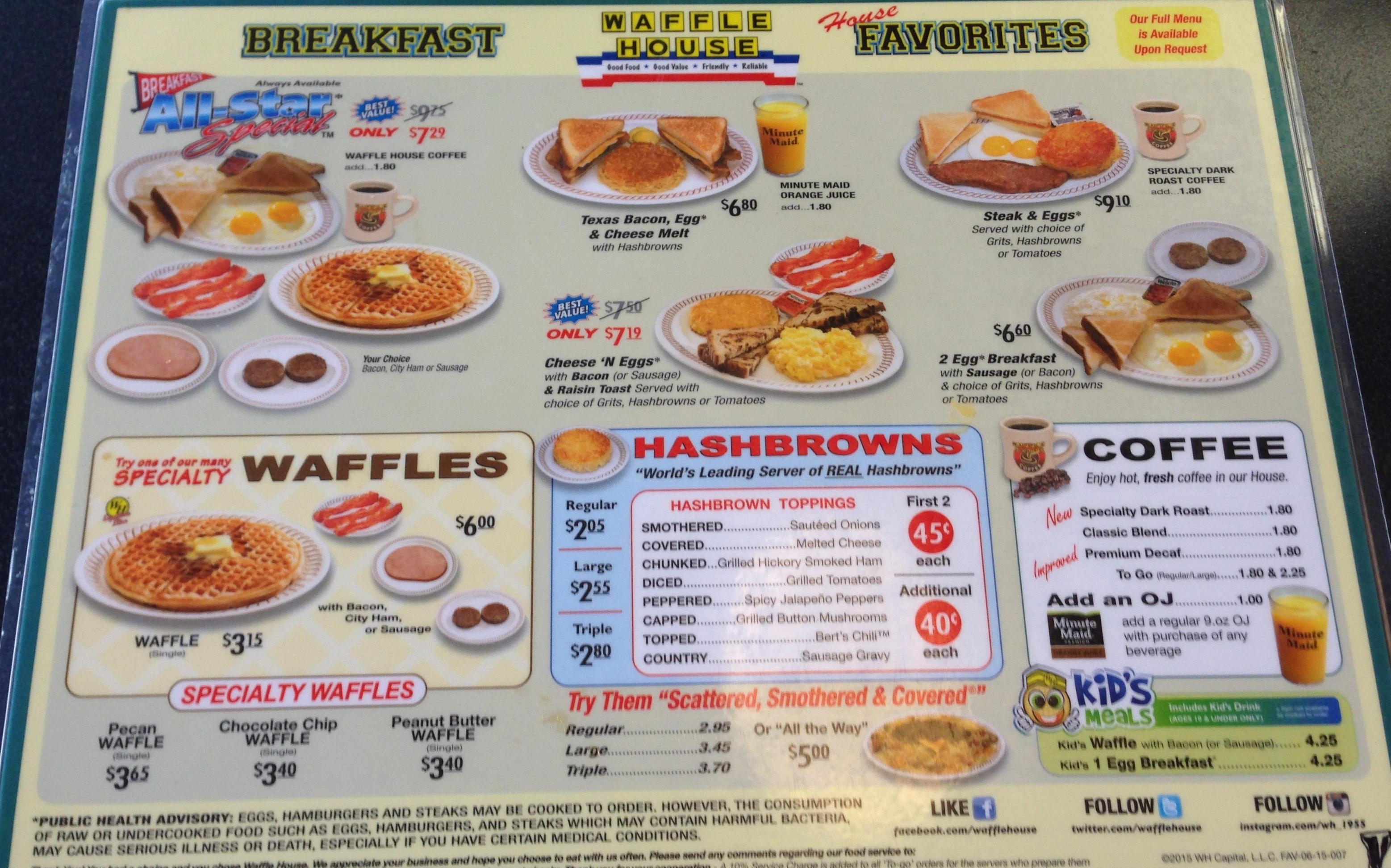 Waffle House Menu, Menu for Waffle House, Plainfield, Indianapolis.