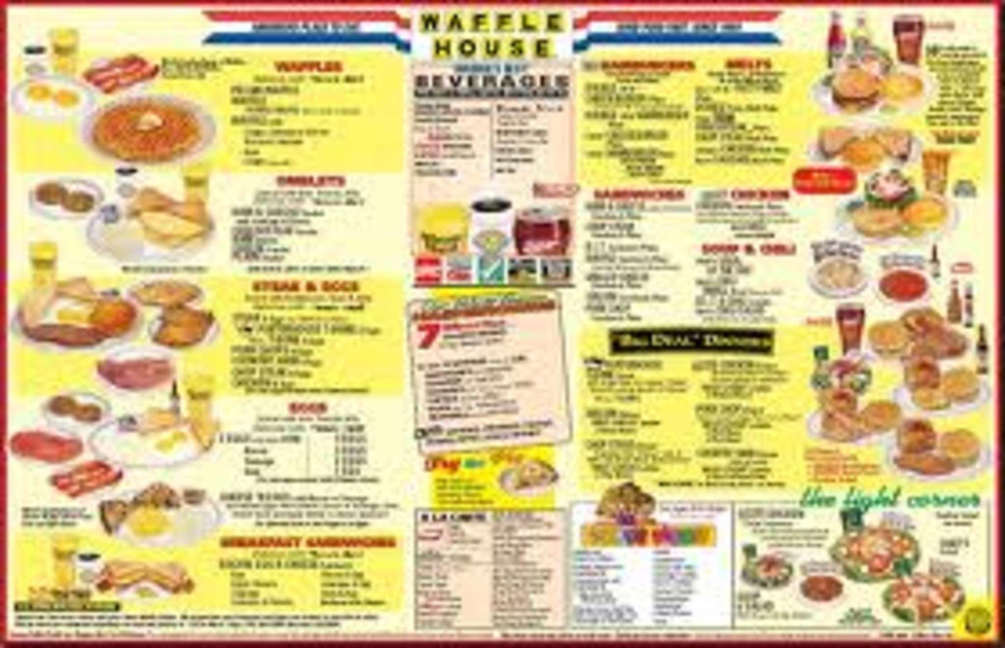 Waffle House Menu, Menu for Waffle House, Beavercreek, Dayton.