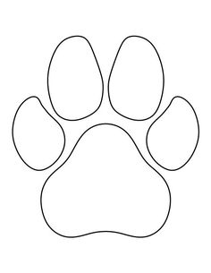 Dog paw print pattern. Use the printable outline for crafts.