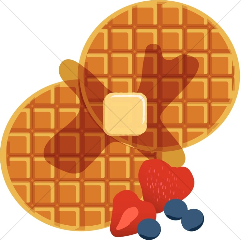 Waffles with Syrup and Berries.