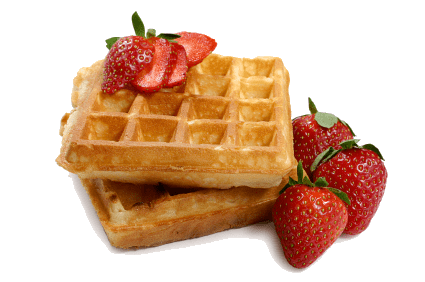 Waffles With Strawberries transparent PNG.