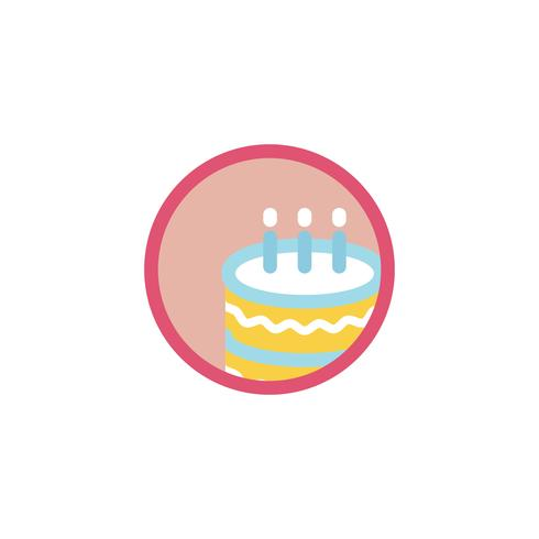 Illustration of birthday cake icon.